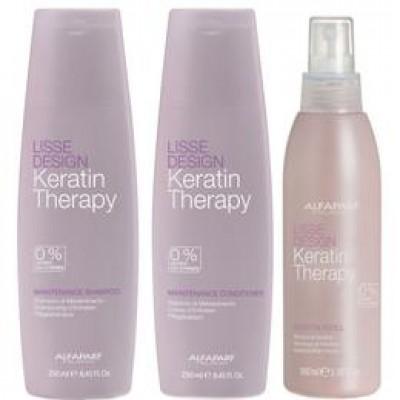 Pachet pentru Netezire Alfaparf Milano Lisse Design Keratin Therapy - Sampon, Balsam, Lapte de Par