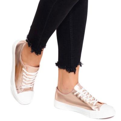 Pantofi sport dama Chaya cu aspect metalic Roz
