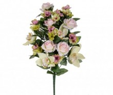 Buchet flori artificiale Orchid and Roses Pink