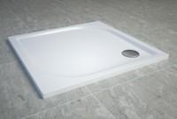 Cadita de dus SanSwiss Tracy WAQ 80x80cm slim marmura sintetica alb