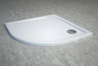 Cadita de dus semirotunda SanSwiss Tracy WAR 80x80cm slim marmura sintetica alb