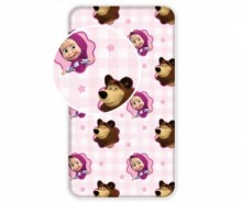 Cearsaf de pat cu elastic Ranforce Masha and The Bear 90x200 cm
