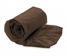 Cearsaf de pat cu elastic Satin Dark Earth 180x200 cm