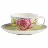 Ceasca si farfuriuta ceai Villeroy & Boch Rose Cottage verde