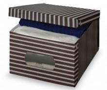 Cutie cu capac pentru depozitare Brown Stripes M