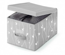 Cutie cu capac pentru depozitare Leaves Grey S