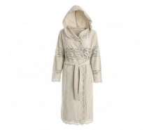 Halat de baie dama Lacy Hooded Chalk M/L