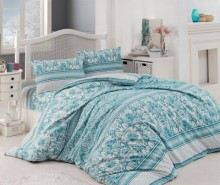 Lenjerie de pat King Ranforce Damask Turquoise