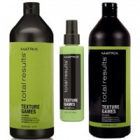 Pachet Matrix Total Results Texture Games - Sampon, Balsam si Spray Leave - In