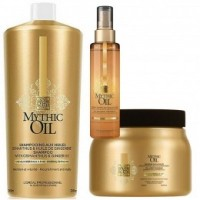 Pachet Par Normal si Fin L'Oreal Professionnel Mythic Oil - Sampon, Masca si Spray Descurcare