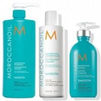 Pachet pentru Netezire Moroccanoil Smoothing - Sampon, Balsam si Lotiune Par Indisciplinat