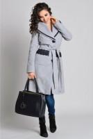 Palton gri Aura Carina elegant de iarna