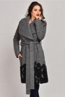 Palton Onida gri din lana cu blanita in cercuri