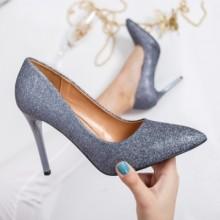 Pantofi Abilene gri cu toc