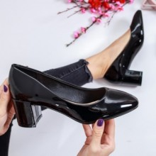 Pantofi Chatillon negri cu toc gros