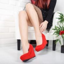 Pantofi dama Escobedo rosii cu platforma
