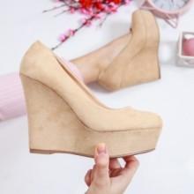Pantofi dama Kasal bej cu platforma