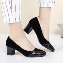 Pantofi dama Marcela negri cu toc gros
