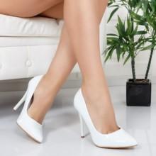 Pantofi Flavio albi cu toc