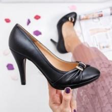 Pantofi Kayla negri cu toc