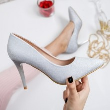 Pantofi Manyco argintii cu toc