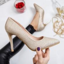 Pantofi Manyco aurii cu toc