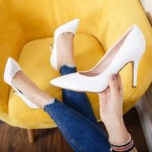 Pantofi Piani albi eleganti
