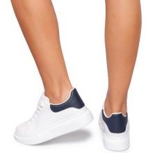 Pantofi sport dama Philomena cu sireturi groase Alb/Bleumarin
