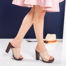 Papuci Julienne crem cu toc