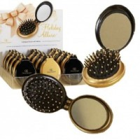 Perie Compacta cu Oglinda - Olivia Garden Holiday Allure Compact Brush with Mirror