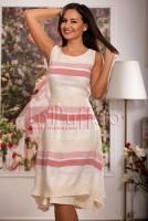 Rochie asimetrica brodata cu dungi rosii