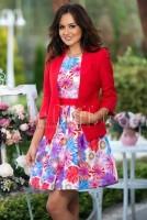 Rochie bumbac imprimeu floral multicolor