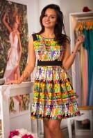 Rochie casual cu imprimeu multicolor