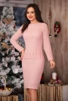 Rochie eleganta roz pal cu fir lucios argintiu