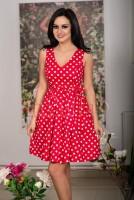 Rochie in clos rosie cu buline albe