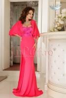 Rochie lunga de seara lycra roz cu broderie si trena
