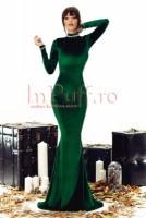 Rochie lunga de seara verde din catifea