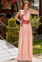 Rochie lunga lycra rose cu broderie florala