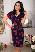 Rochie midi bleumarin cu flori rosii