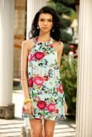 Rochie scurta cu imprimeu floral si spatele gol