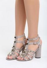 Sandale cu toc Cardena Gri