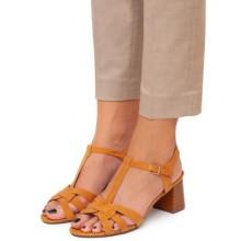 Sandale dama Lauren cu toc mediu si bareta pe glezna Maro