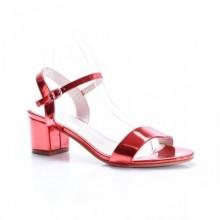 Sandale Evelia rosii cu toc gros
