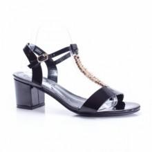 Sandale Fajardo negre cu toc gros