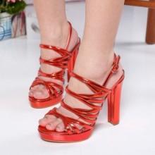 Sandale Jancis rosii cu toc gros
