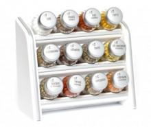 Set 12 recipiente cu condimente si suport suspendabil Silver Line White