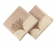 Set 2 prosoape de baie Life Tree Light Brown 50x90 cm