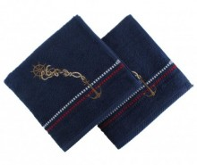 Set 2 prosoape de baie Marina Anchor Dark Blue 50x90 cm