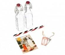 Set 2 sticle cu dop ermetic si 11 accesorii pentru bauturi Sweet