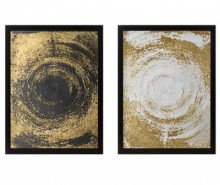 Set 2 tablouri Circles Golden 34x44 cm